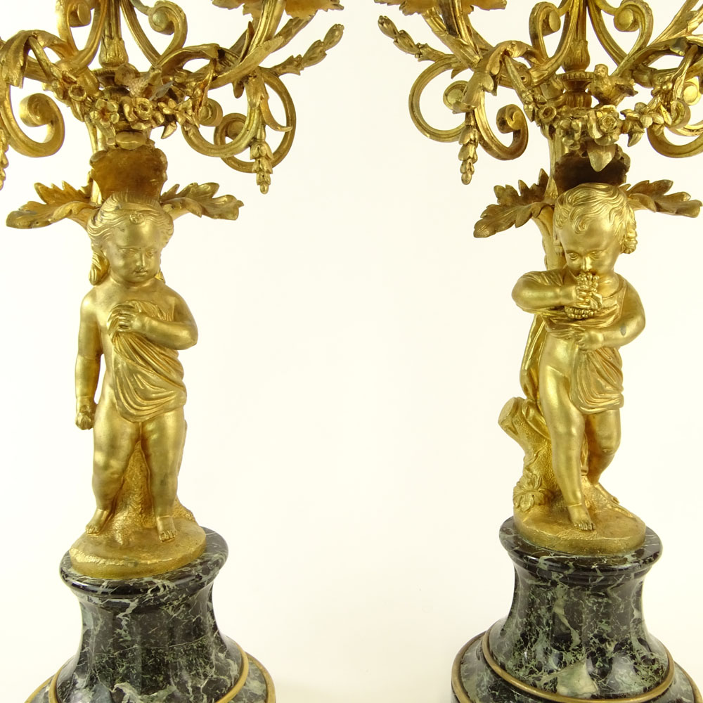 Early 20th Century Gilt Bronze and Serpentine Marble Five Light Candelabra. Unsigned. Very good - Image 3 of 6