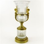 Large Early 20th Century French Possibly Baccarat Gilt Bronze Mounted Cut Crystal Urn. Unsigned.