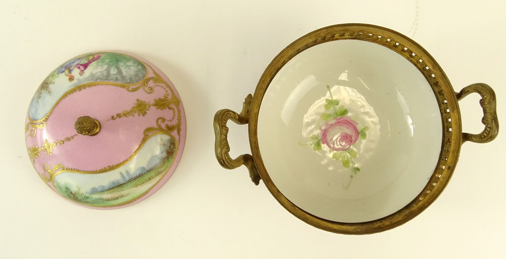 Sevres Bronze Mounted Hand Painted Covered Porcelain Box. Marked on bottom. Light wear or in good - Image 3 of 7
