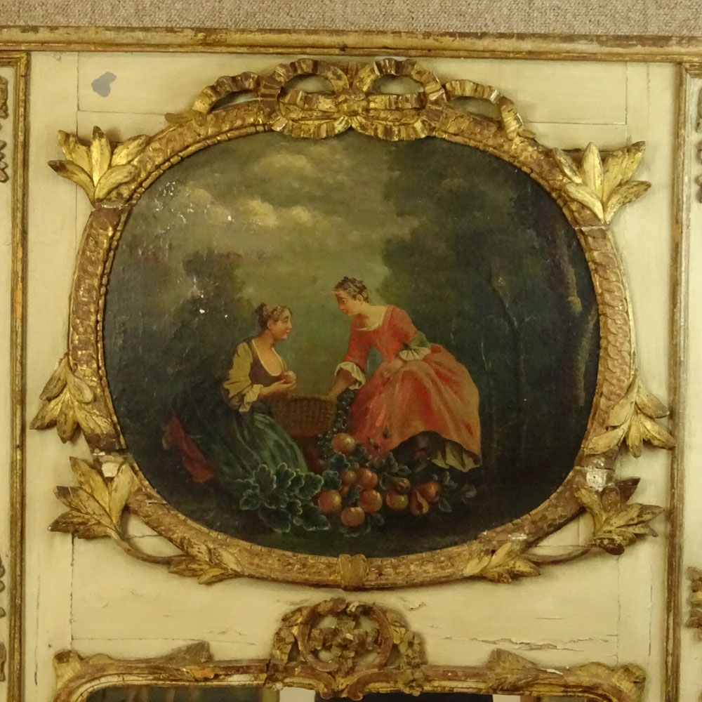 18/19th Century French Louis XVl style Painted and Parcel Gilt Trumeau. Unsigned. Losses, surface - Image 2 of 4