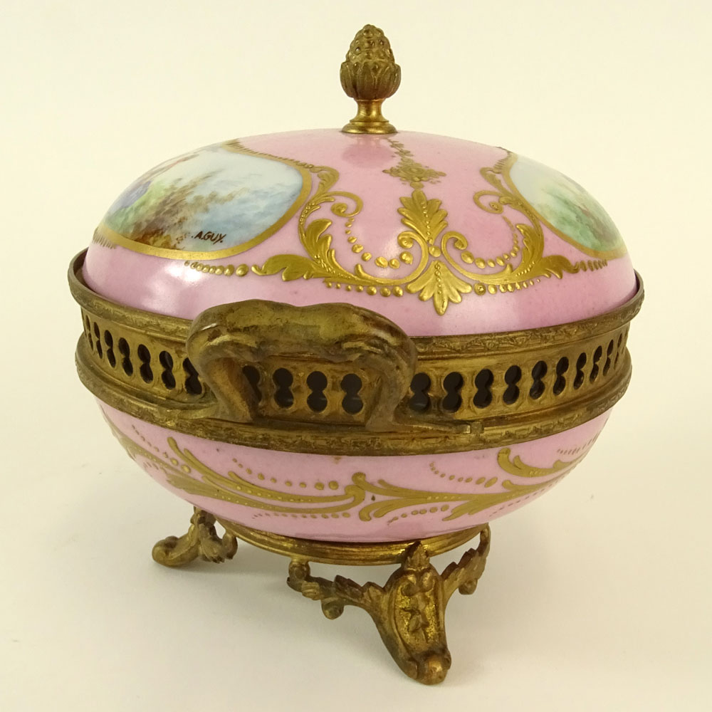 Sevres Bronze Mounted Hand Painted Covered Porcelain Box. Marked on bottom. Light wear or in good - Image 7 of 7