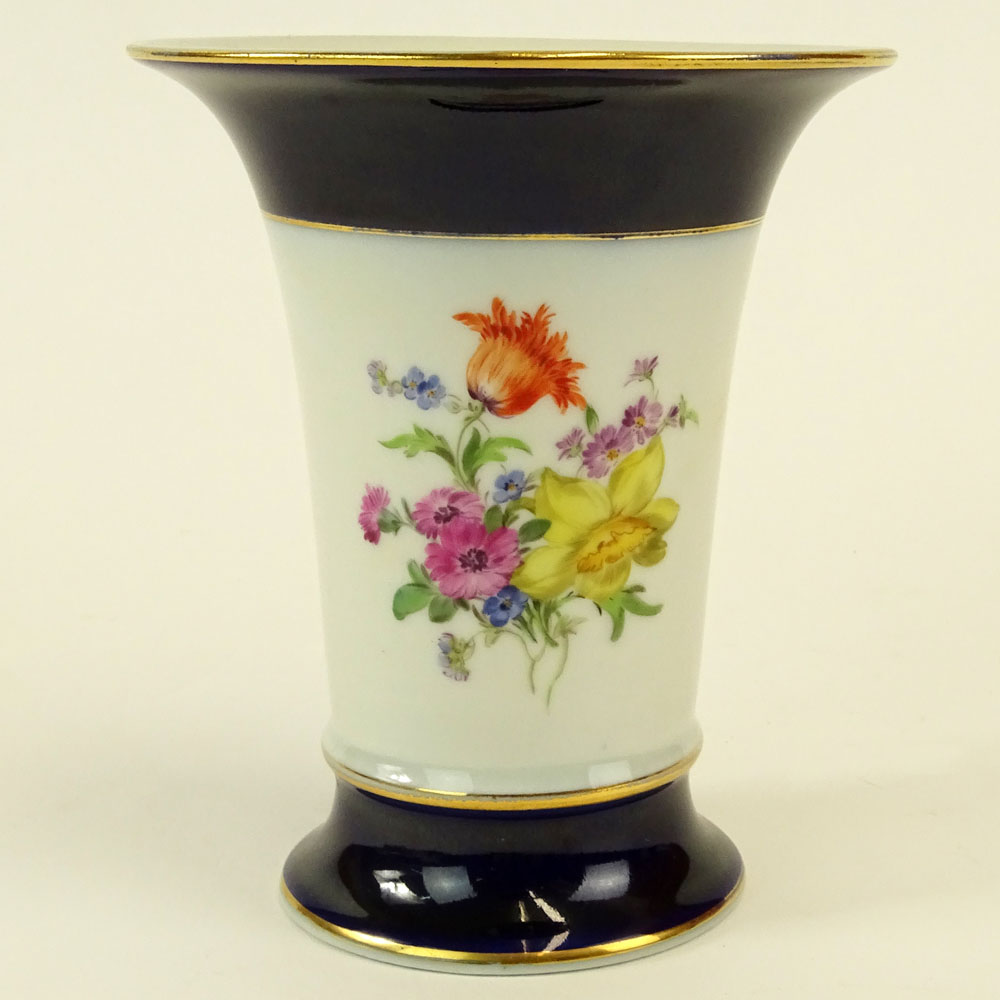 "Meissen Hand Painted Porcelain Vase. Signed with crossed swords. Good condition. Measures 5-1/4"" - Image 2 of 6"
