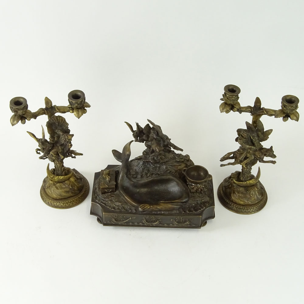 Lansere, Russian (1875-1946) Bronze figural 3 piece desk set. Includes two, 2 light candelabra and - Image 2 of 9