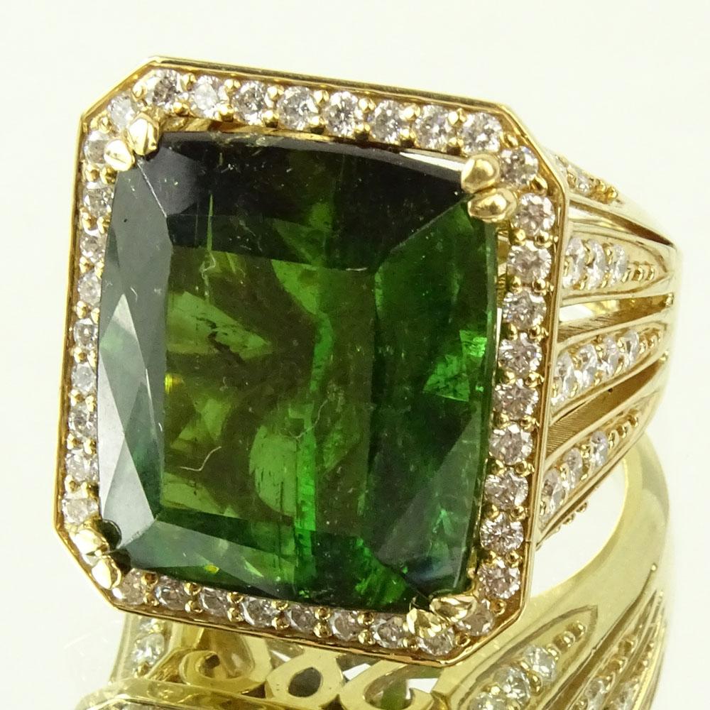 Approx. 22.0 Carat Emerald Cut Tourmaline, 2.0 Carat Diamond and 18 Karat Yellow Gold Ring.