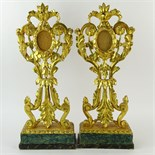 Pair of 19th Century Continental Carved and Gilt Wood Reliquaries. Gilding losses, cracks, antique