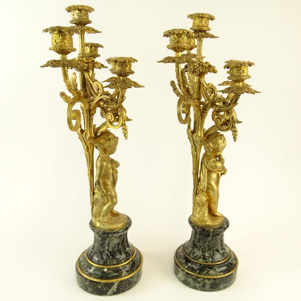 Early 20th Century Gilt Bronze and Serpentine Marble Five Light Candelabra. Unsigned. Very good - Image 4 of 6