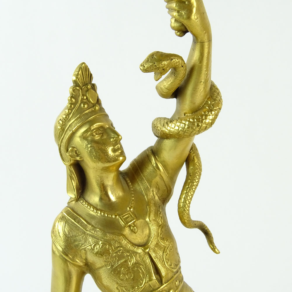 Pair of 19/20th Century French Egyptian Revival Gilt Bronze Figural Candlesticks. Unsigned. Good - Image 4 of 9