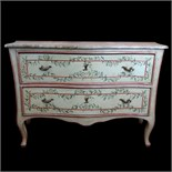 Mid 20th Century Italian, painted 2 drawer commode with faux marble painted top. Unsigned. Minor