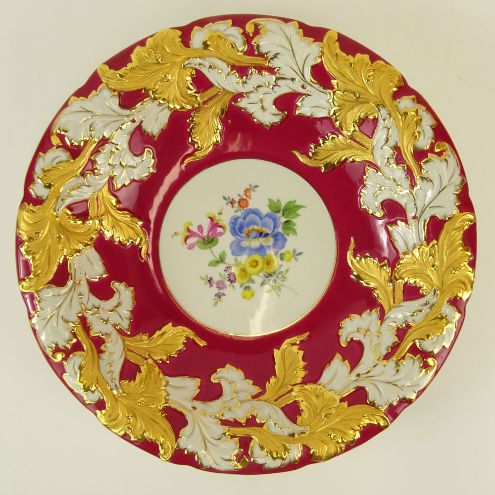 Large Meissen Hand Painted and Parcel Gilt Bowl With Red Border. Floral motif. Signed with crossed