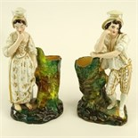 Pair of Jacob Petit Porcelain Figural Scent Bottles. Male and female form. Signed JP on bottom. Both