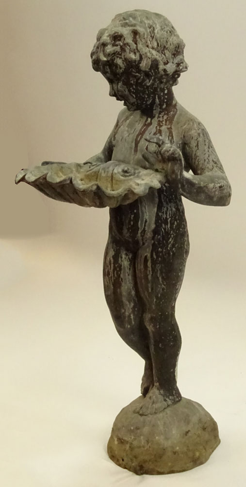 Early 20th Century Iron Figural Standing Putto holding Shell Fountain. Unsigned. Distressed - Image 3 of 6