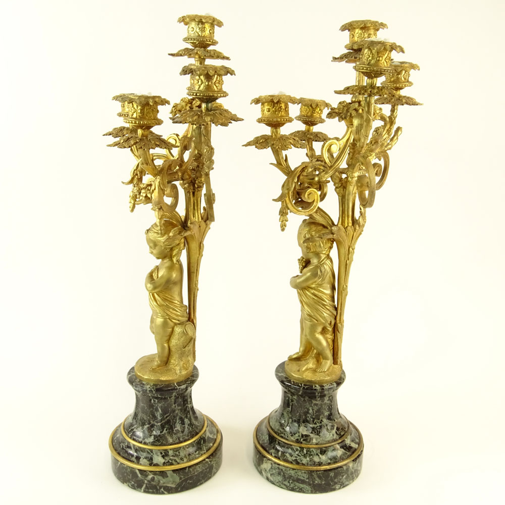 Early 20th Century Gilt Bronze and Serpentine Marble Five Light Candelabra. Unsigned. Very good - Image 6 of 6