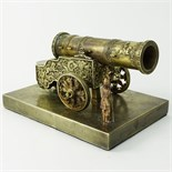 Russian Sazikov Silver Model Of The Tsar Canon. On rectangular base, realistically cast and