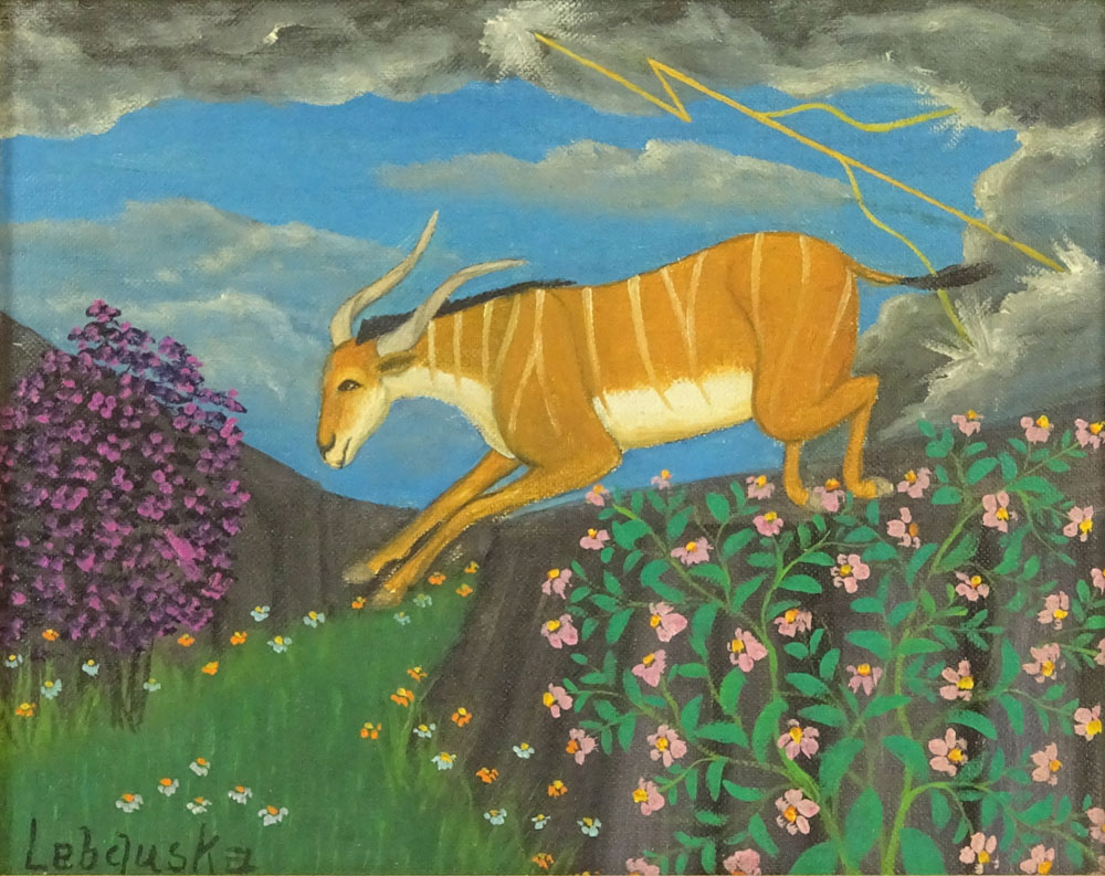 """Lot 51 - Lawrence Lebduska, American (1894-1966) Oil on canvas board """"Striped Gazelle: Signed lower left."""
