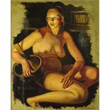 "Russian oil painting on canvas in frame bearing signature Z. Serebriakova. ""Nude In Sauna"" Good"