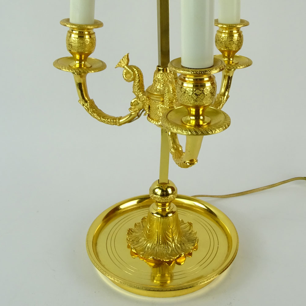 Mid 20th Century French Empire style Bouillotte Lamp with Tole Shade. Unsigned. Good condition. - Image 3 of 6