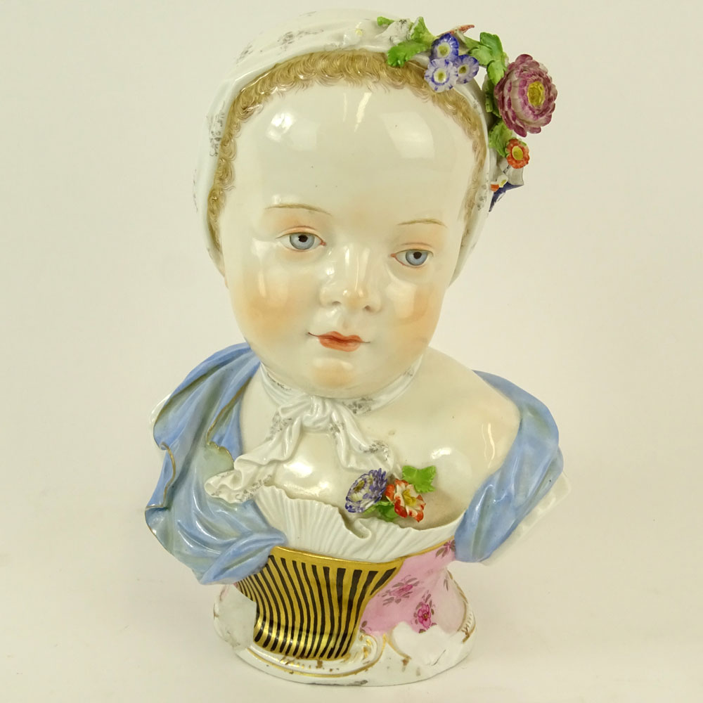 19th Century Meissen Porcelain Young Girl Bust. Marked to base. Losses. Please examine this lot