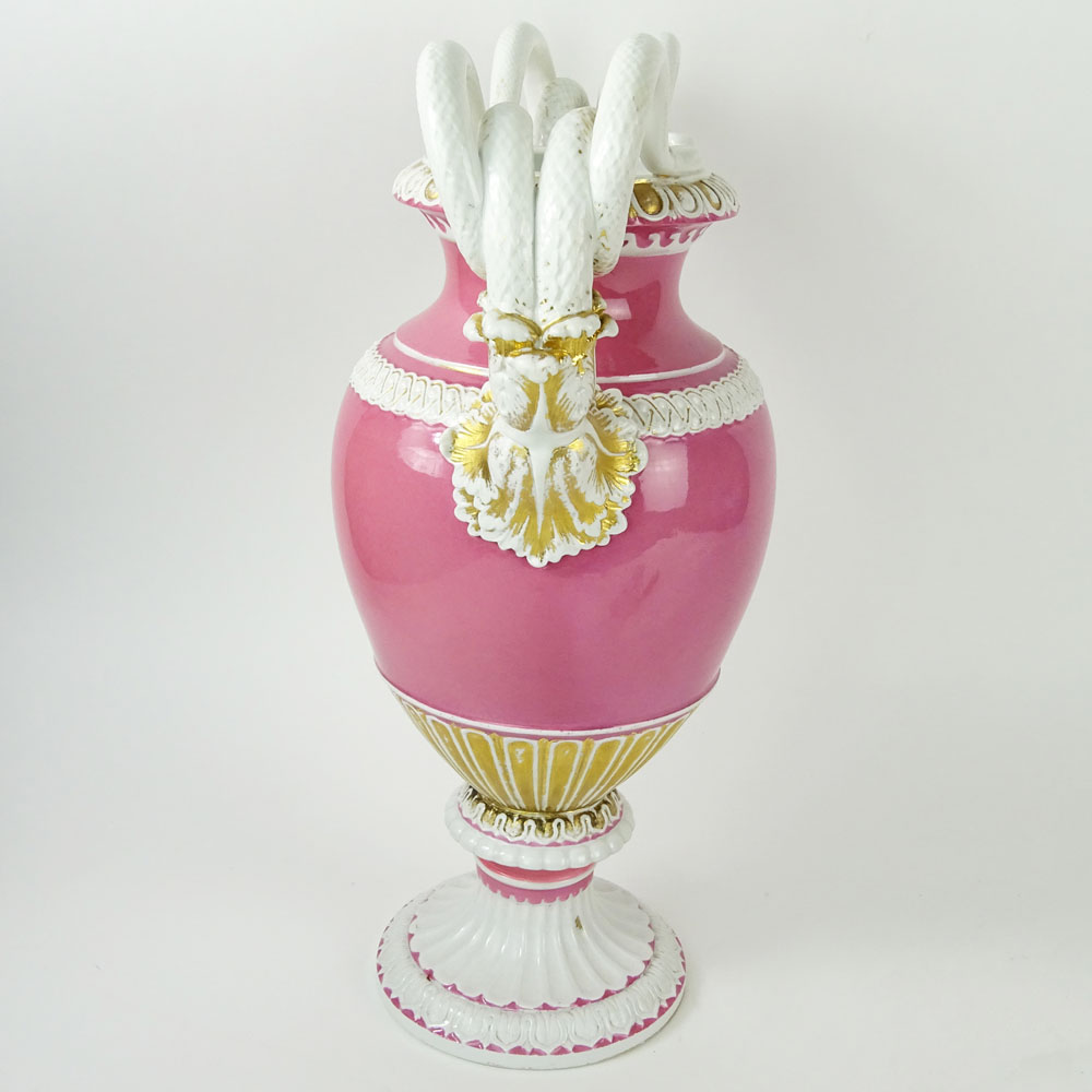 Large Meissen Snake Handle Porcelain Bolted Urn in Pink White and Parcel Gilt. Signed with crossed - Image 5 of 8