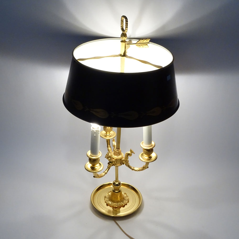 Mid 20th Century French Empire style Bouillotte Lamp with Tole Shade. Unsigned. Good condition. - Image 5 of 6