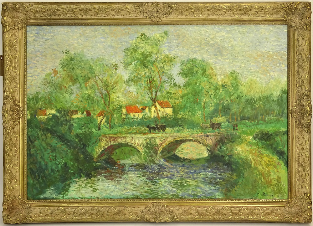 """after: Camille Pissarro, French (1830-1903) oil on canvas, """"Stone Bridge"""". Signed lower right. Two - Image 2 of 4"""
