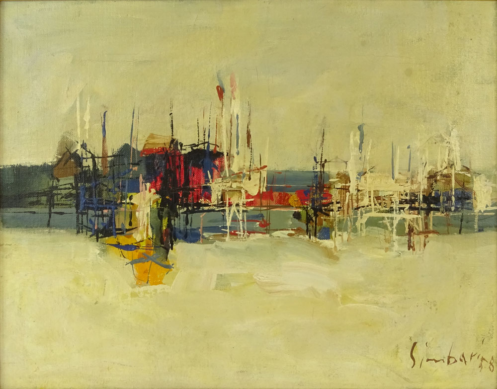 """Nicola Simbari, Italian (1927-2012) Oil on canvas """"Untitled"""" Signed and dated '58 lower right."""