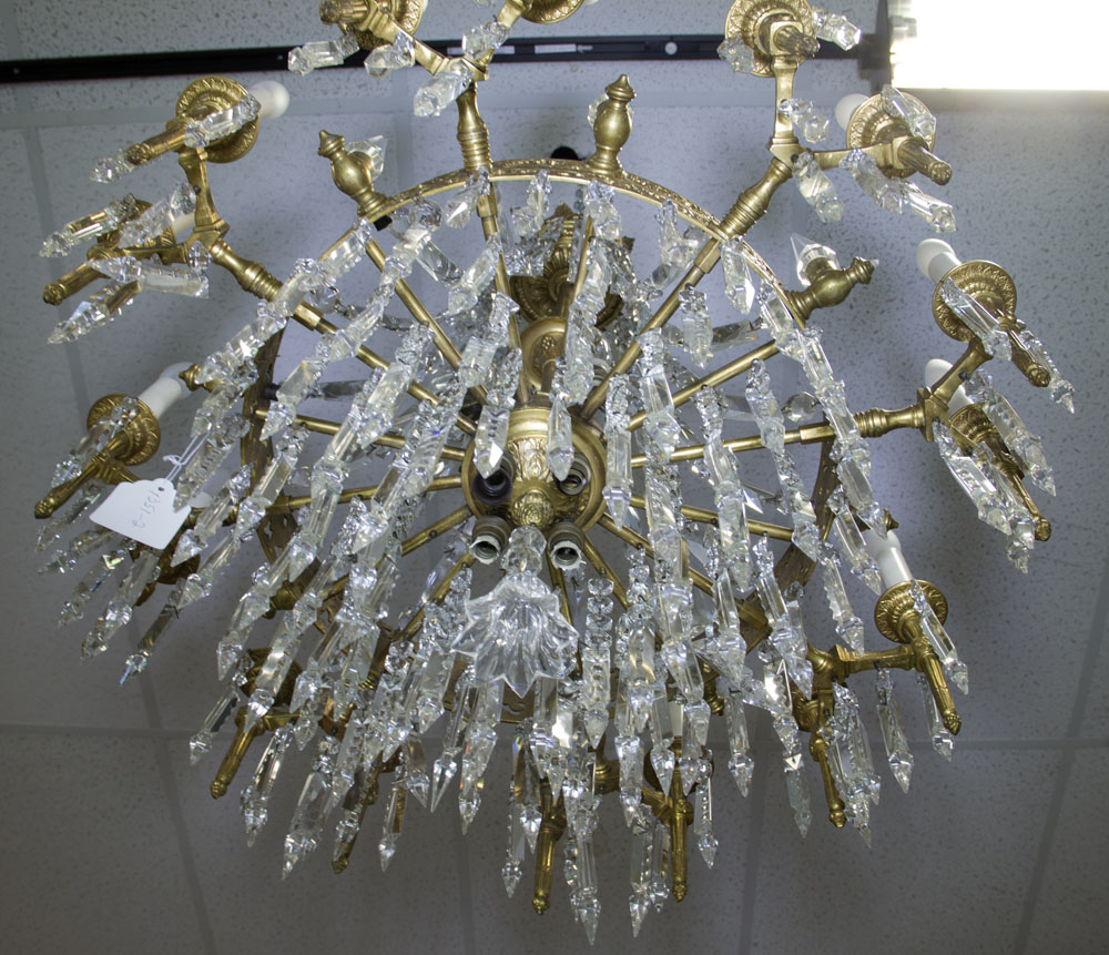 Early 20th Century Bronze and Crystal Twenty-Four (24) Light Chandelier. Unsigned. Good condition. - Image 3 of 3