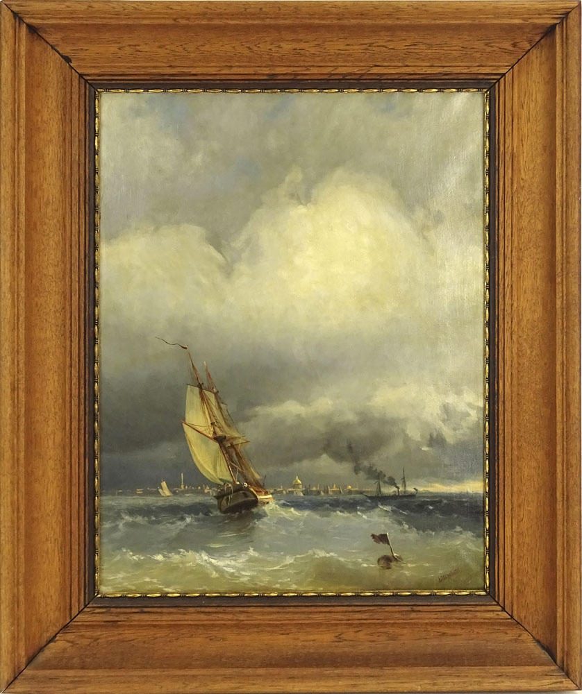 "after: Ivan Konstantinovich Aivazovsky, Russian (1817-1900) oil on canvas, ""Sailing to Harbor"". - Image 2 of 4"
