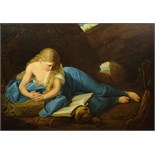 "Antique Continental Oil on Canvas ""The Penitent Magdalen"" Unsigned. Good Relined Condition. Measures"