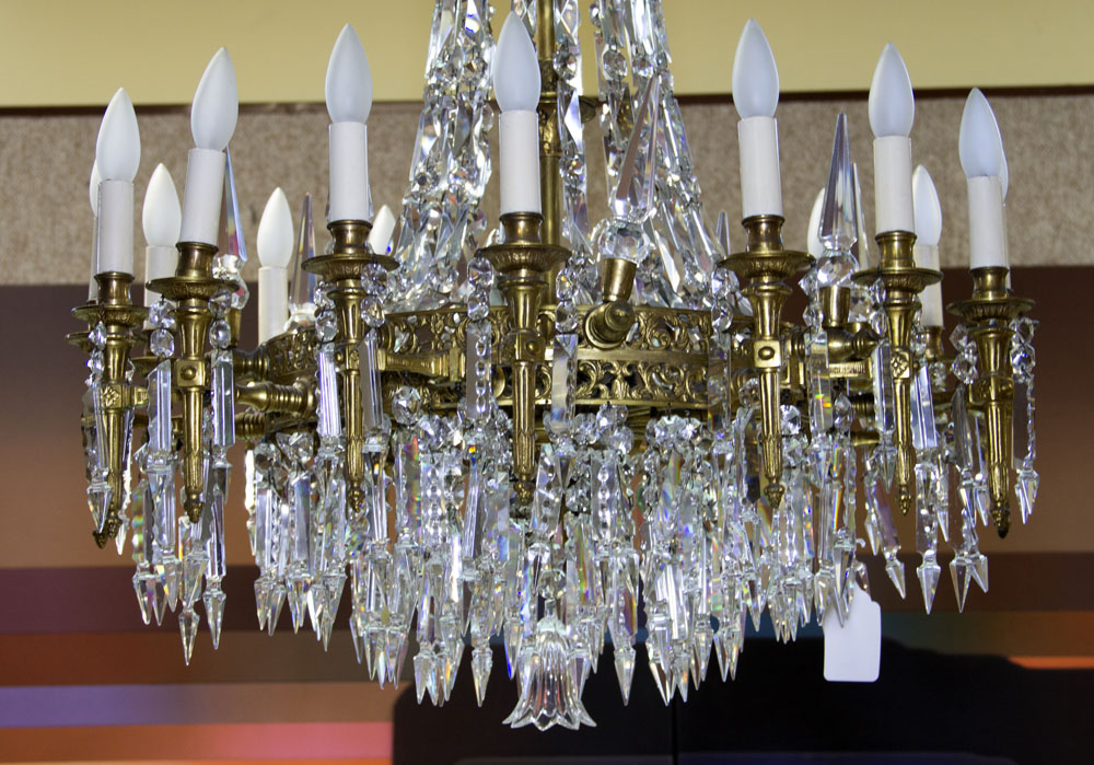 Early 20th Century Bronze and Crystal Twenty-Four (24) Light Chandelier. Unsigned. Good condition. - Image 2 of 3