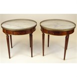 Pair of mid 20th century Italian Louis XVl style mahogany bouillotte tables with marble tops and