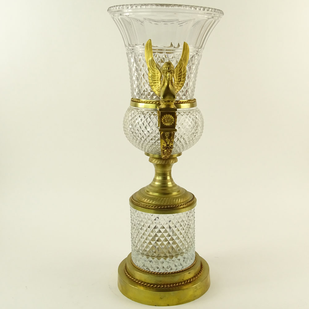 Large Early 20th Century French Possibly Baccarat Gilt Bronze Mounted Cut Crystal Urn. Unsigned. - Image 4 of 5