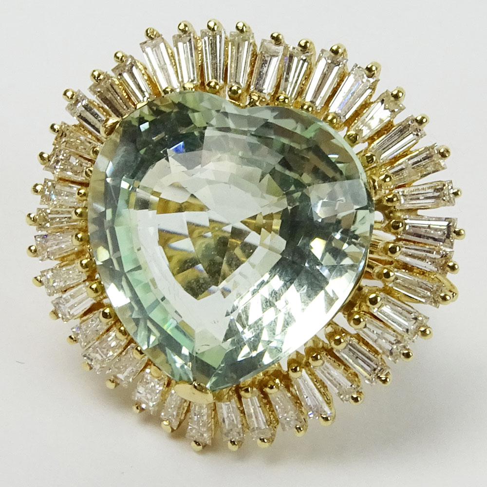 Vintage Approx. 25.0 Carat Heart Shape Aquamarine, 2.5 Carat Baguette Diamond and 14K Yellow Gold