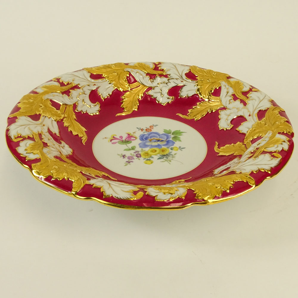 Large Meissen Hand Painted and Parcel Gilt Bowl With Red Border. Floral motif. Signed with crossed - Image 3 of 5