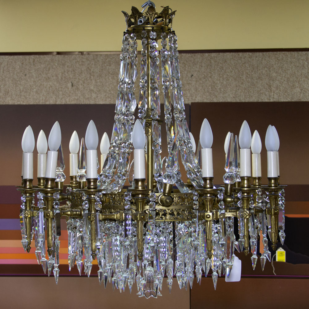 Early 20th Century Bronze and Crystal Twenty-Four (24) Light Chandelier. Unsigned. Good condition.