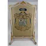 French Late 18th Century Louis XVI Carved, Painted and Parcel Gilt and Needlepoint Fire Screen.