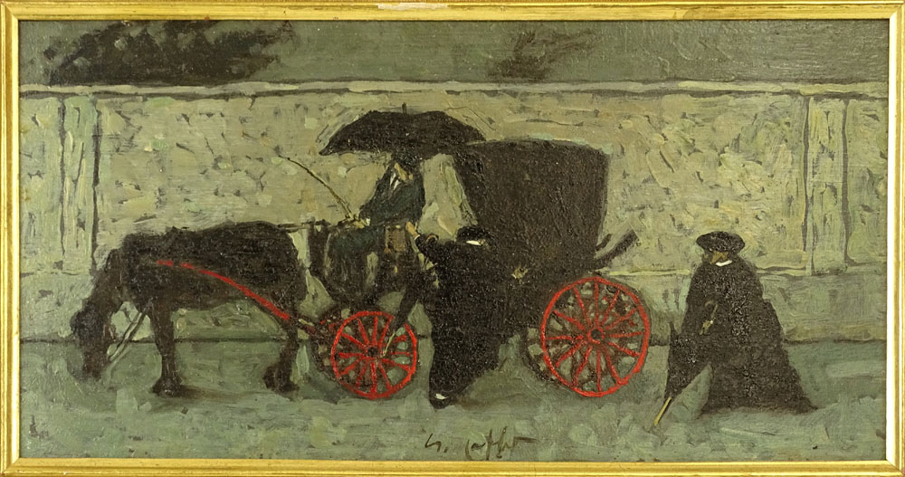 Lot 47 - Nino Caff, Italian (1909-1975) Oil on panel, Rainy Day Coach Ride. Signed. Good condition. Measures