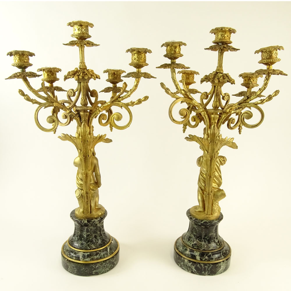 Early 20th Century Gilt Bronze and Serpentine Marble Five Light Candelabra. Unsigned. Very good - Image 5 of 6
