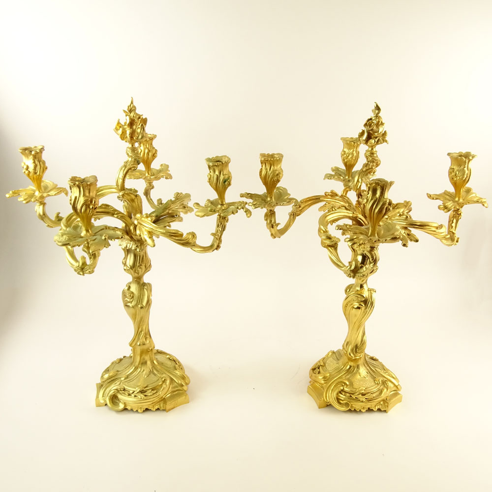 Pair 20th Century gilt bronze rococo 4 light candelabra. Unsigned. Small crack to one arm - Image 2 of 4
