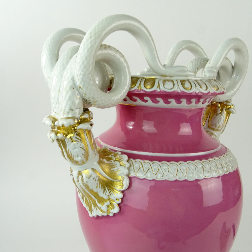 Large Meissen Snake Handle Porcelain Bolted Urn in Pink White and Parcel Gilt. Signed with crossed - Image 8 of 8