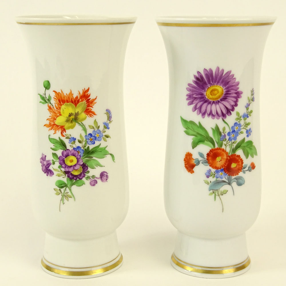 Pair of Meissen Hand Painted Porcelain Vase. Floral motif. Signed with crossed swords marks. Good - Image 2 of 7