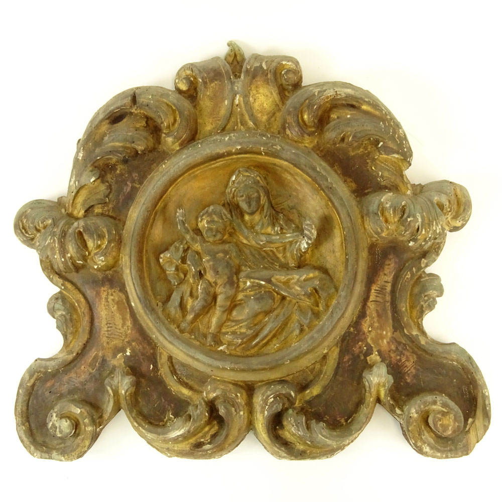 Lot 6 - 19th Century Probably Italian Carved Parcel Gilt Wood Madonna and Child Wall Bracket. Unsigned.
