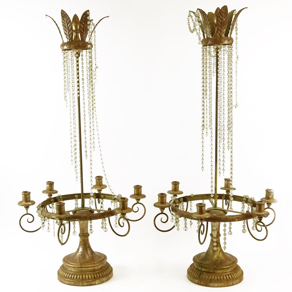 Lot 19 - Pair of Early 20th Century Louis XVl Style Carved Gilt wood and gilt tole six (6) light crystal bead