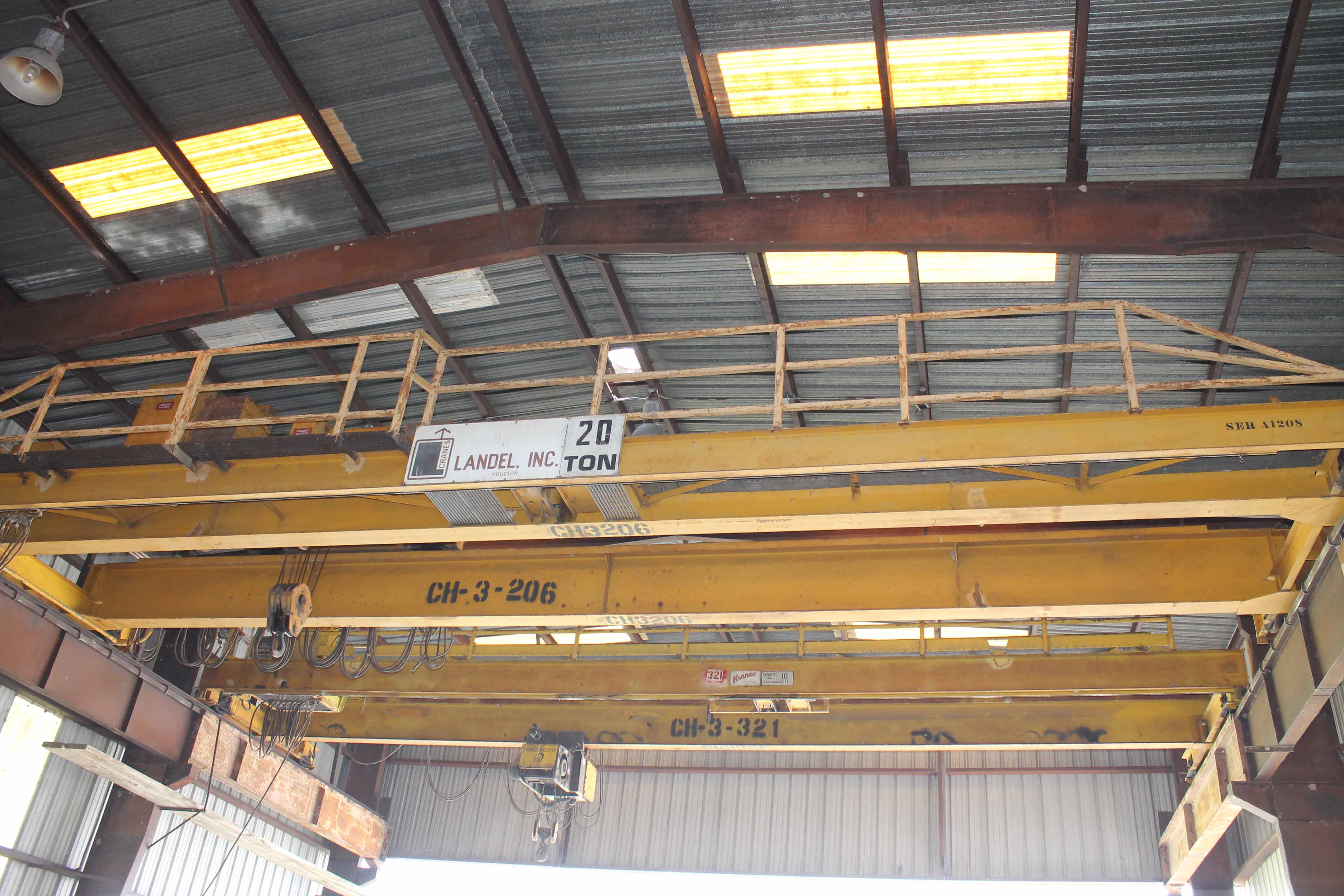 "Lot 20 - Overhead Bridge Crane, Landel 20 ton cap. x 44'-7-1/2"" span, dual I-beam, top riding, pendant"