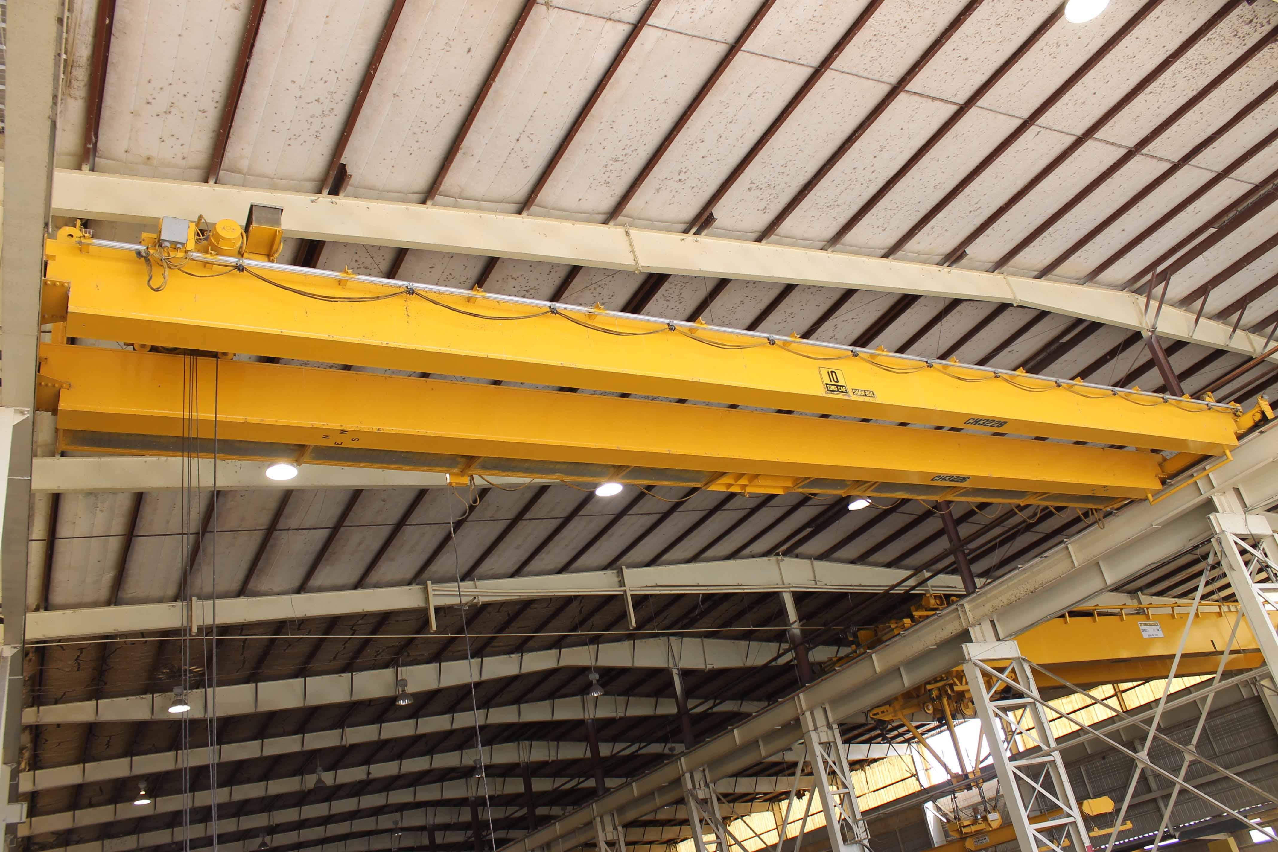 "Lot 16 - Overhead Bridge Crane, Shaw Box, 10 ton cap. x 71'4"" span, pendant control, dual box beam, top"