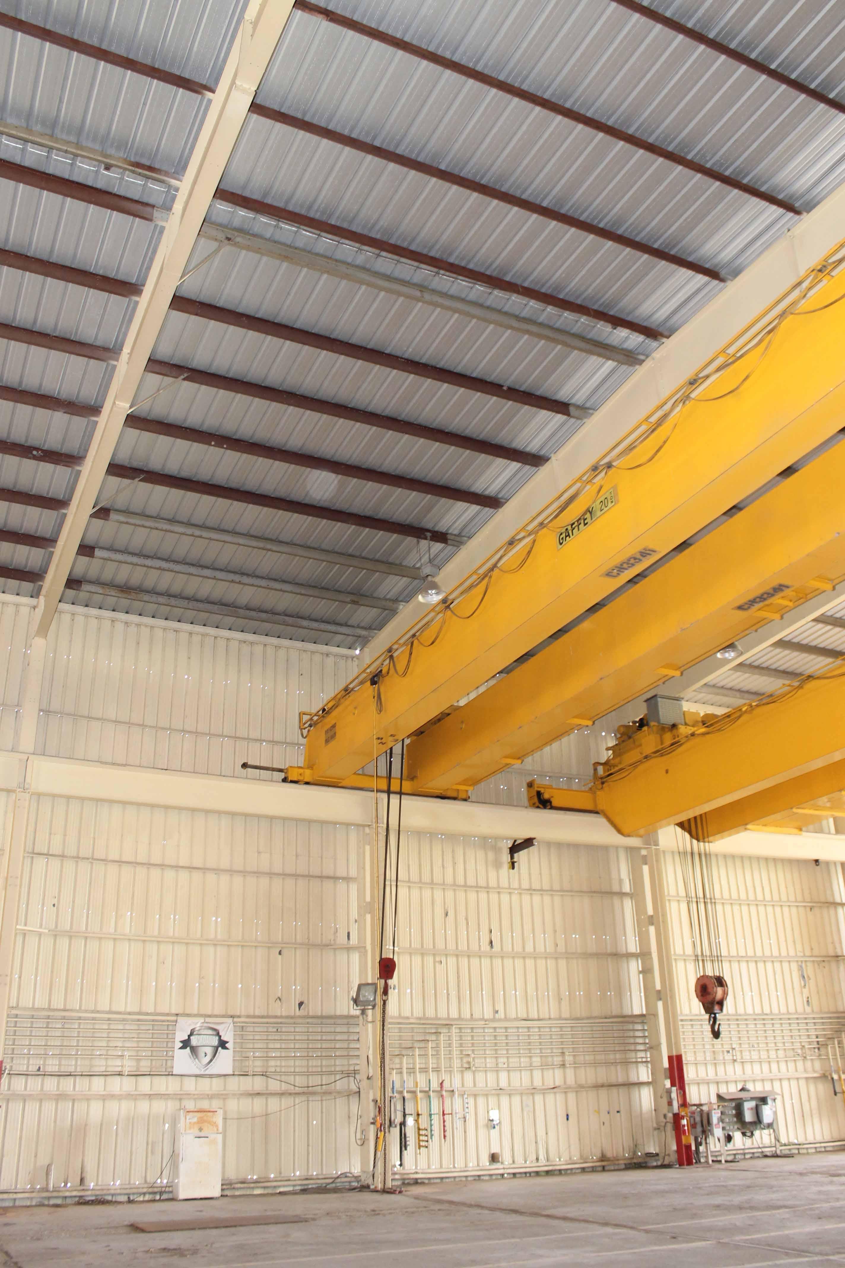 "Lot 10 - Overhead Bridge Crane, Gaffey 20 ton cap., x 73'-11-1/4"" span, dual box beam, top riding, pendant"