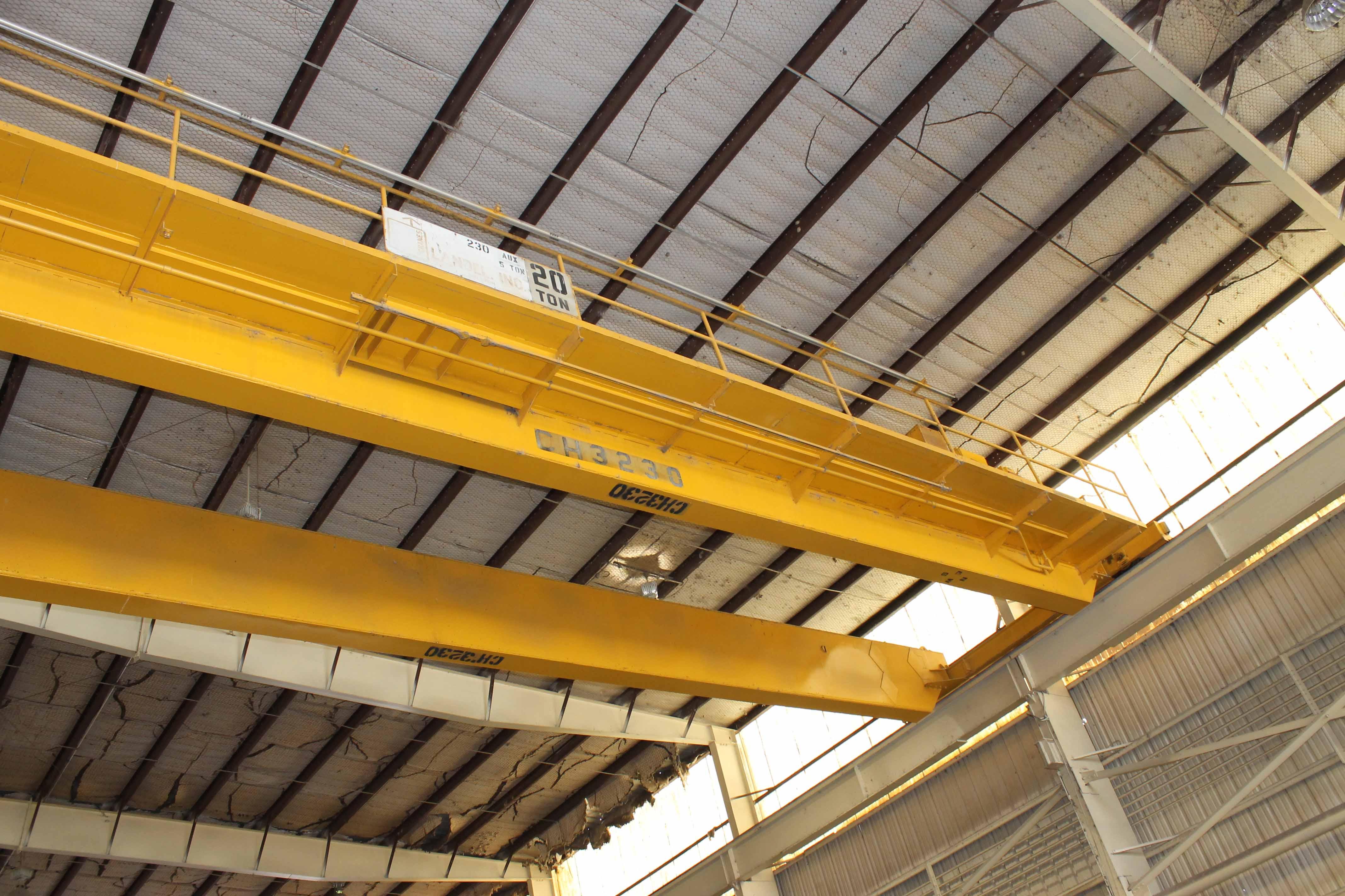 "Lot 13 - Overhead Bridge Crane, Landel 20 ton cap. with 5 ton aux. x 71'4"" span, pendant control, dual box"