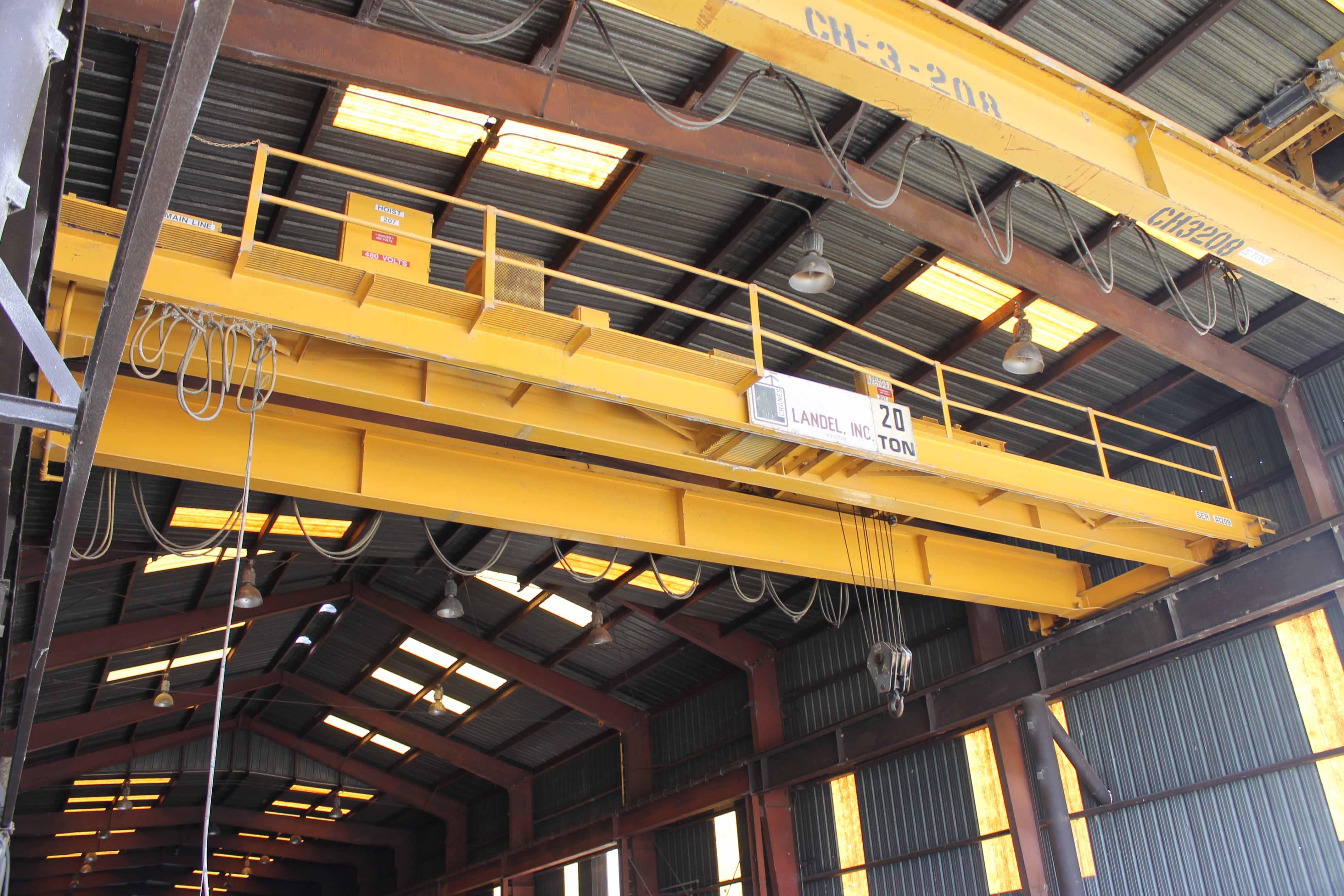 "Lot 19 - Overhead Bridge Crane, Landel 20 ton cap. x 44'-7-1/2"" span, dual I-beam, top riding, pendant"