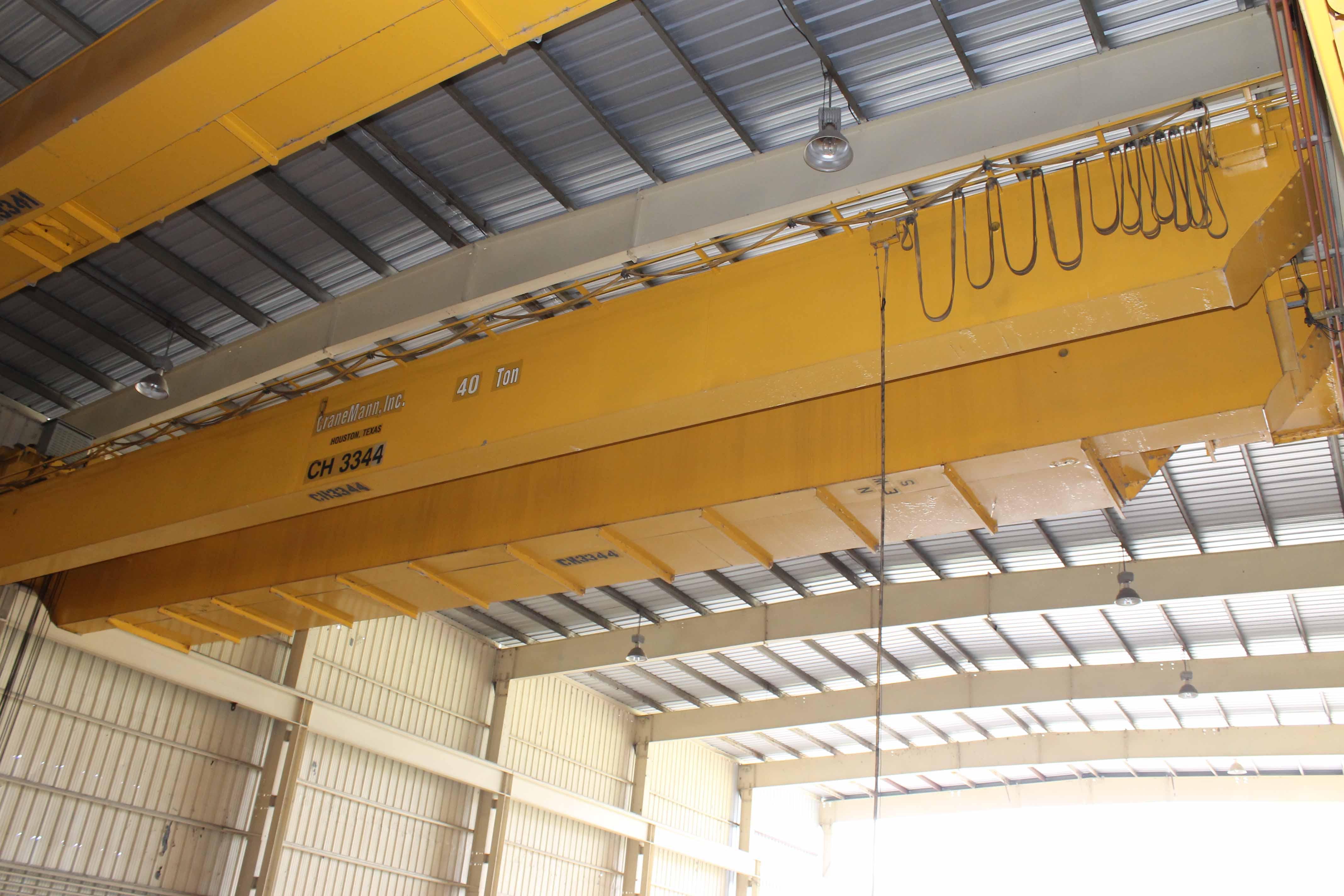 "Lot 9 - Overhead Bridge Crane, Crane Mann 40 ton cap. x 73'-11-1/4""span, dual box beam, top riding,"