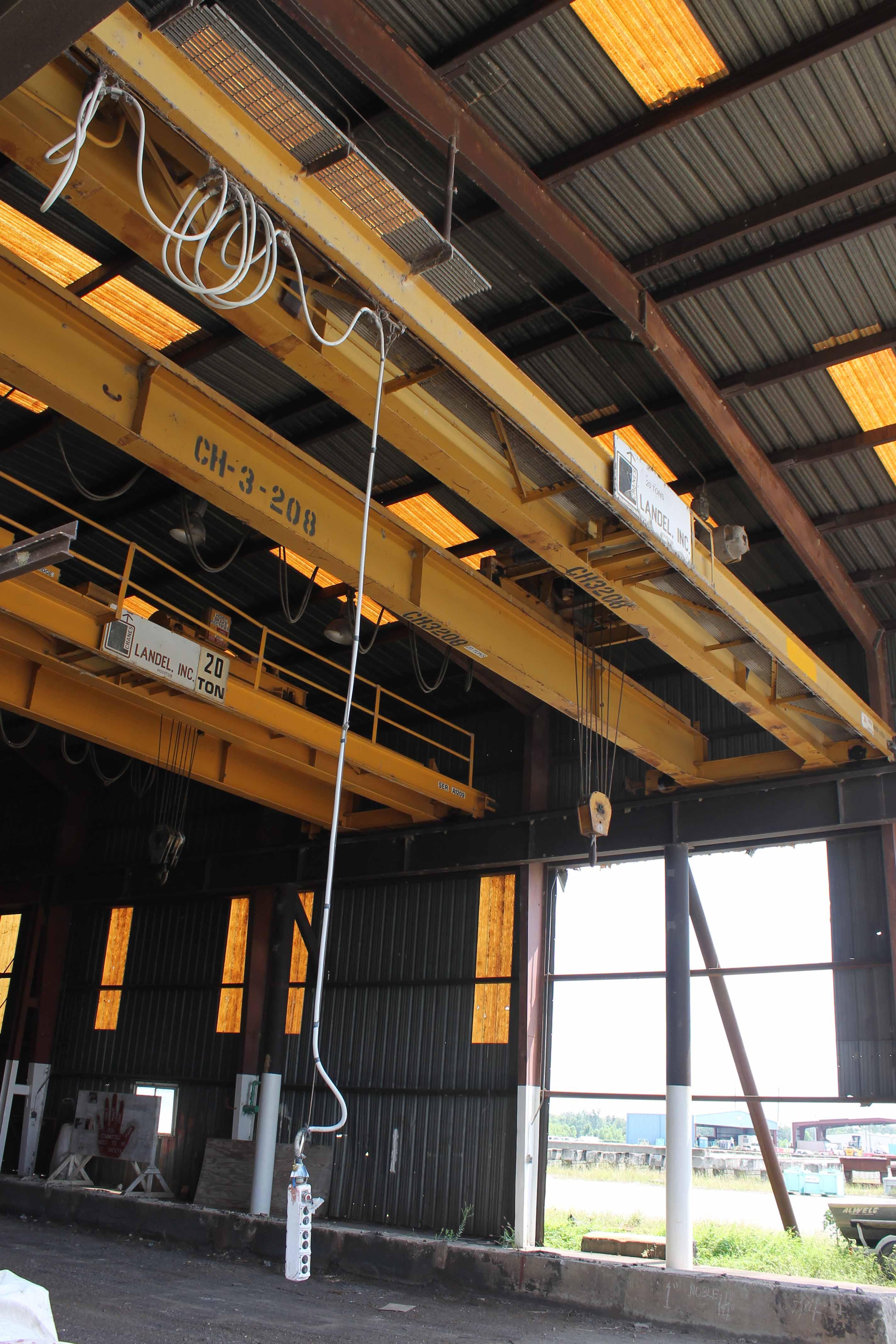 "Lot 18 - Overhead Bridge Crane, Landel 20 ton cap. x 44'-7-1/2"" span, dual I-beam, top riding, pendant"