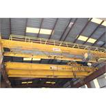 "Overhead Bridge Crane, Kranco 10 ton x 44'-7-1/2"" span, single girder, top riding bridge, underslung"